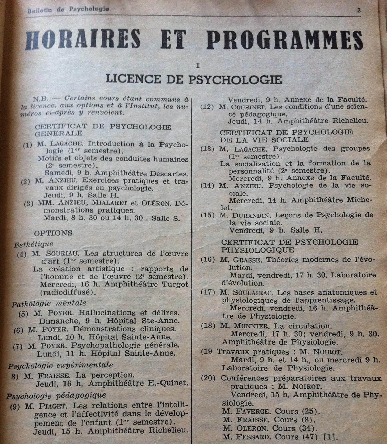 horaires et programme - licence 1 psychologie université Paris Descartes